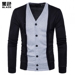 GustOmerD New Pierced Fashion For Men Contrast Color Long Sleeve Two False Pieces Cardigan Coat black size l 65 to 72 kg