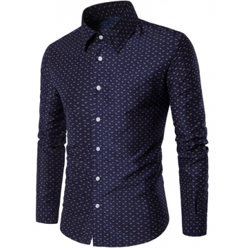 2017 Spring Summer Fresh Pure Cotton Big Flowers British men Long Sleeve Shirts Men's Shirts blue size m 50 to 58kg