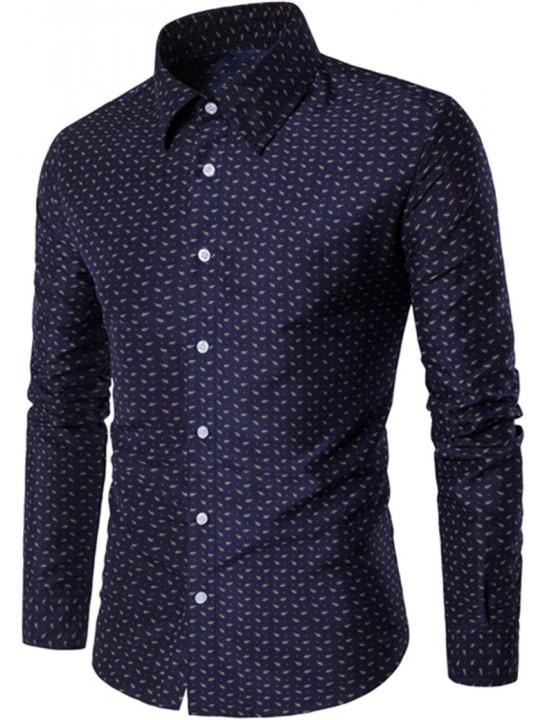 2017 Spring Summer Fresh Pure Cotton Big Flowers British men Long Sleeve Shirts Men's Shirts blue size m 50 to 58kg