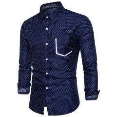 2017 Wild Men Print Contrast Color Long Sleeved Shirt navy size s 50 to 55kg