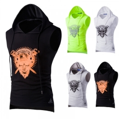2017 Male Print Breathable sweat Mesh Hooded Sweat Vest Summer Sports black size m 45 to 52kg