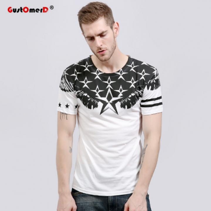 GustOmerD Star Print T Shirt Men Short Sleeve Cotton Fitness Mens T-shirts Casual white Asian M 45 to 50kg