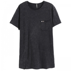 GustOmerD New Fashion T shirt Man Big Pockets Solid Color O-neck T shirts High Quality 100% Cotton T black size s 50 to 55kg