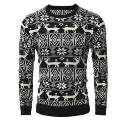 2017 New Fashion Christmas Deer Men's Casual Long Sleeved Sweater black size m 55 to 65 kg