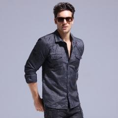 GustOmerD 2017 New Fashion Design Shirt Men  Soft Warm Thicken Men Shirt Long Sleeve Shirts Dark grey XL 75 to 85kg