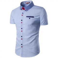 2017 Summer New Korean Version Pure Color  Short Sleeved Shirt Casual Men blue size m 45 to 52kg