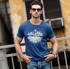 GustOmerD Summer New Fashion Brand Trend Print Cotton T Shirt Men Tee O-Neck Casual Men T-Shirt navy size S 50 to 55kg