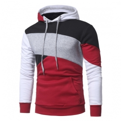 2017 New Personalized Multicolor Splicing Men's Casual Hoodies Slim Hooded Jacket red size xl 65 to 72 kg