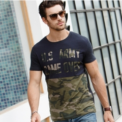 GustOmerD 2017 Fashion Camouflage Patchwork Cotton T shirt Men Slim Fit Short Sleeve Casual Tshirts navy size s 50 to 55kg cotton