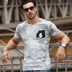 GustOmerD New T-shirt Patchwork Printed Tshirt Man's Fashion Pure Cotton Men's O-neck Casual T shirt white size s 50 to 55kg