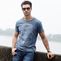 GustOmerD T-shirt Fashion New Pure Cotton Casual Man's O-neck Short Sleeve T shirts Mens grey blue size S 50 to 55kg