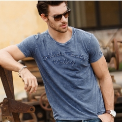 GustOmerD Water Washed 2017 New Design Mens T-shirts Embroidery Short Sleeve O Neck  Cotton T Shirt navy size XL 72 to 80kg