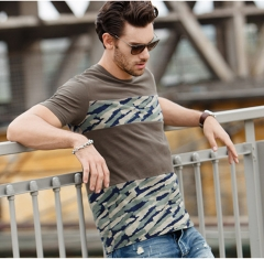 GustOmerD Man's T shirt Fashion Patchwork Camouflage Slim Fit T shirt Men's Cotton Casual Tshirt green size xl 72 to 80kg