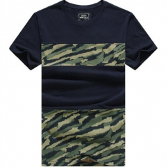 GustOmerD Man's T shirt Fashion Patchwork Camouflage Slim Fit T shirt Men's Cotton Casual Tshirt navy size xxl 80 to 90kg