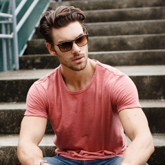 GustOmerD Brand T shirt Man's O-neck Slim Fit Fashion Solid Color T-shirt Pure Cotton T shirt pink Asian M 55 to 65kg