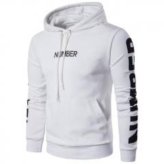 GustOmerD New Men's Long Sleeved Hoodie Coat Printing Letters Hood Hoodies Men white size l 58 to 65 kg