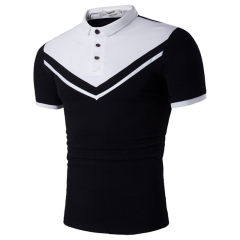 2017 Summer Inverted Triangle Small Collar Short Sleeve Slim Polo Shirt black size s 50 to 58kg