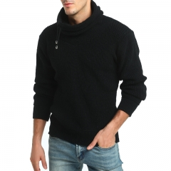 2017 New Men Solid Color High Neck Thick Wool Long Sleeve Sweater Elastic Thick Sweater black size m 50 to 58kg