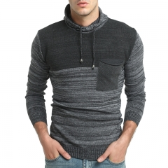 New Male Matching Hat Leisure Long Sleeve Sweater Male Self Cultivation Thick Knit black size m 50 to 58kg