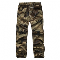 2017 Menswear Foreign Trade Pure Cotton Elastic Camouflage Overalls Trousers  Prompt Goods khaki 28