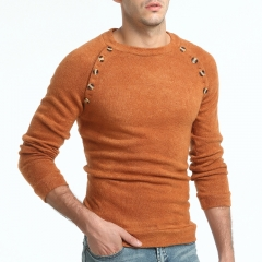 GustOmerD New Men's Buttons Solid Color Long Sleeved Sweater Wild Sweater camel size 3xl 80 to 88kg