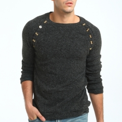 GustOmerD New Men's Buttons Solid Color Long Sleeved Sweater Wild Sweater dark grey size m 50 to 58kg