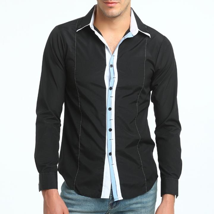b753fce5798 2017 New Men s Fashion Color Matching Leisure Long Sleeve Shirt Self  Cultivation Big Code Shirt black