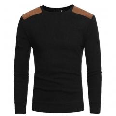 GustOmerD New Fashion Mens Sweater Suede Plaster Design Men's Round Collar Leisure Knit Sweater black size m 50 to 58 kg