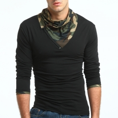2017 New Style Male Fashion Camouflage Solid Color Long Sleeve T Shirt Big Code Base Shirt black size m 50 to 58kg