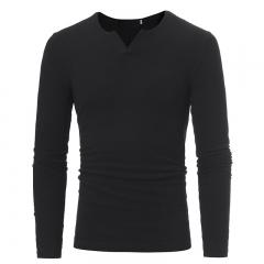 GustOmerD New V Neck Stripe Elastic Thsirt Men's Leisure Long Sleeved Knitwear black size m 50 to 58kg cotton & polyester