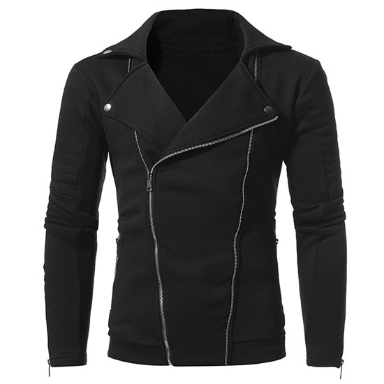 2017 New Winter Men's Casual Personality Double Oblique Zipper Slim Sweater Coat black size m 50 to 58 kg