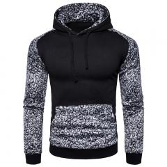 2017 New Men 's Leopard Stitching Hoodie Autumn Winter black size s 50 to 58kg