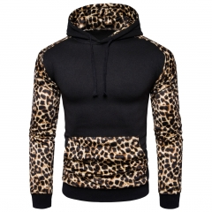 2017 Autumn Winter Foreign Trade Men 's British Leopard Print Spell Color Men 's Sweater Coat black size s 50 to 58kg