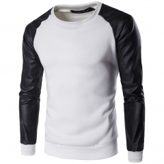 2017 new sweater men 's sleeve pu leather stitching sweater white size m 50 to 58 kg