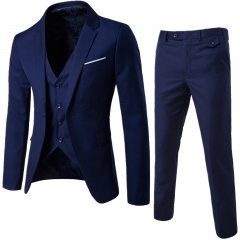 2017 Business Casual Suit Three-Piece Groom 's Wedding Suit navy size m 45 to 52kg