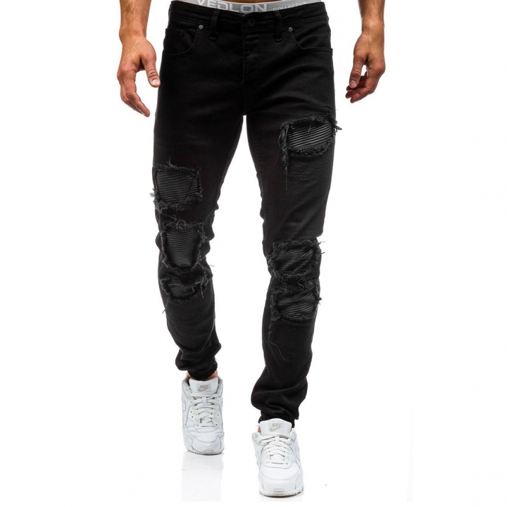 699ef5d5cba 2017 New Men  s Water-Washed Hole Pants Waist Trend Jeans black 29 ...