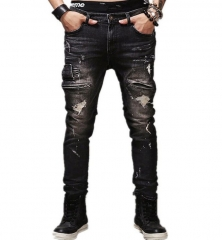 GustOmerD Men's Denim Trousers Straight Destroyed Jeans Slim Fit Casual Ripped Jeans black 30