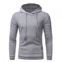 GustOmerD New Fashion Explosion of Men's Slim Hooded Plaid Jacquard Hoodies light grey size 3xl 80 to 88 kg