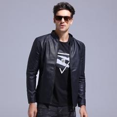 GustOmerD 2017 Mens Jackets Coat Motorcycle PU Leather Jacket Men Casual Slim Fit Jackets Men Coat black size xxl 72 to 80kg