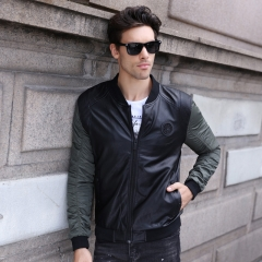 GustOmerD 2018 Leather Patchwork Bomber Jacket Men Fashion Slim Fit Mens Jackets Leather Coats army green size m 50 to 58kg