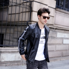 GustOmerD High Quality PU Leather Mens Jacket Solid Color Patchwork Sleeves Stand Collar Jacket Coat black size m 50 to 58kg