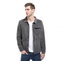 GustOmerD New Men Corduroy Jacket Coats Mens Solid Color Collar Jackets Male Casual Slim Outwear grey size m 50 to 58kg