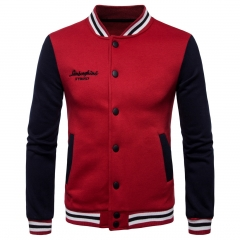 2018 Mens New Collar Sweatshirts Casual Jacket Men Hit Color Baseball Clothing red size s 50 to 58kg