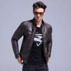 GustOmerD Motorcycle Leather Jacket Men Slim Fit PU Leather Mens Jackets Coats Plus Velvet Jackets coffee size m 50 to 58kg