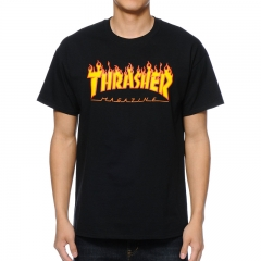 GustOmerD 2018 New THRASHER Fashion Casual Short Sleeve Printing Loose Mens T-Shirt black size s 45 to 50kg