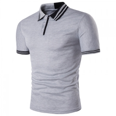 2018 New Mens T Shirt Two Color Stitching Collar Lapel Personalized Short Sleeve T-shirt light grey size s 50 to 58kg