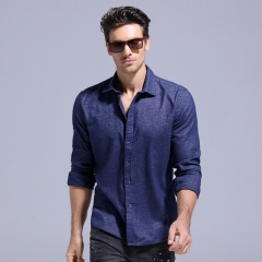 GustOmerD 2018 New Thicken Shirt Men Solid Color Slim Fit Casual Long Sleeve Mens Shirts sapphire m 55 to 65kg