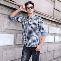 GustOmerD 2018 New Fahion Loose Style Casual Mens Shirts Long Sleeve Plaid Shirt Men black size L 65 to 75kg