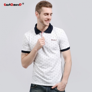 GustOmerD Fashion Classic Polo Shirt Men Casual Fitness Patchwork Cotton Slim Fit Short Sleeve Mens white size L 65 to 72kg