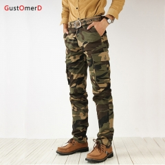 GustOmerD New Fashion Trend Men Overalls 100% Cotton Superior Quality Camouflage Military Trousers army green 28